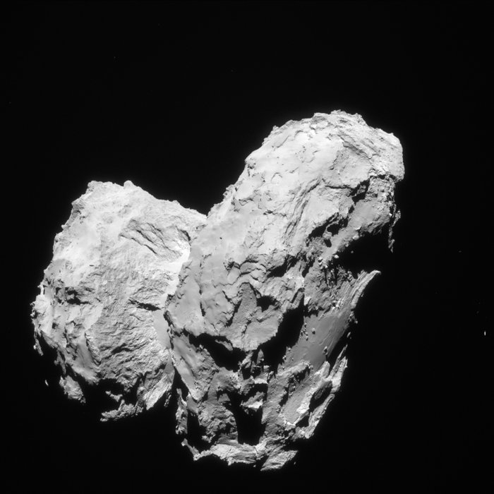 Two comets collided at low speed in the early Solar System to give rise to the distinctive 'rubber duck' shape of Comet 67P/Churyumov–Gerasimenko. Image Credit:  ESA/Rosetta/Navcam – CC BY-SA IGO 3.0