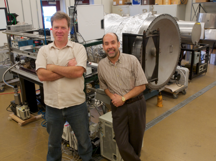 Mechanical Engineering Assistant Research Professor Christopher Dreyer and Director of the Center for Space Resources Angel Abbud-Madrid in the Center for Space Resources Laboratory. Image Credit: Colorado School of Mines