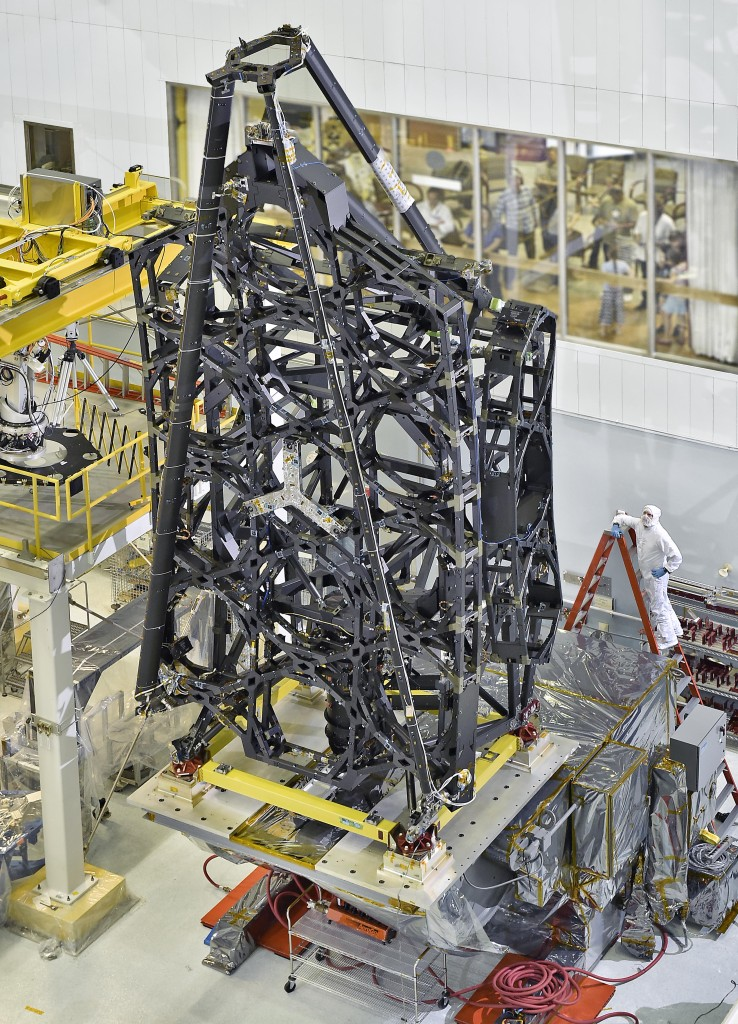 The flight structure of NASA's James Webb Space Telescope was standing tall in the cleanroom at NASA's Goddard Space Flight Center in Greenbelt, Maryland. Image Credit: NASA/C. Gunn