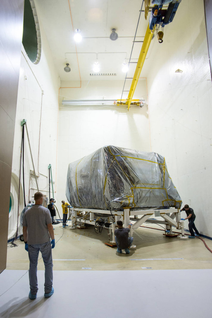 The ISIM structure wrapped up and waiting for sound testing in the acoustics chamber at NASA Goddard. Image Credit: NASA/Desiree Stover