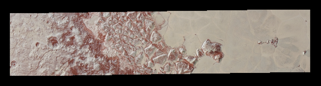 High-resolution images of Pluto taken by NASA's New Horizons spacecraft just before closest approach on July 14, 2015, reveal features as small as 270 yards (250 meters) across, from craters to faulted mountain blocks, to the textured surface of the vast basin informally called Sputnik Planum. Enhanced color has been added from the global color image. This image is about 330 miles (530 kilometers) across. For optimal viewing, zoom in on the image on a larger screen. Image Credit: NASA/JHUAPL/SWRI