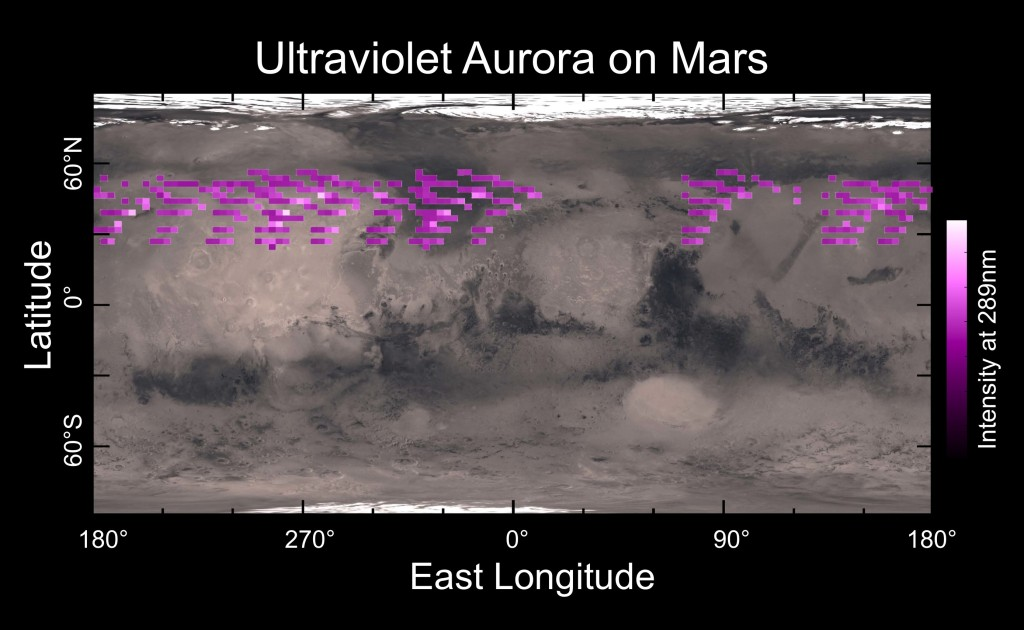 A map of MAVEN's Imaging Ultraviolet Spectrograph (IUVS) auroral detections in December 2014 overlaid on Mars' surface. The map shows that the aurora was widespread in the northern hemisphere, not tied to any geographic location. The aurora was detected in all observations during a 5-day period. Image Credit: University of Colorado