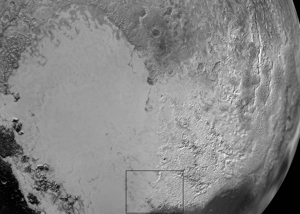 Pluto's 'Heart': Sputnik Planum is the informal name of the smooth, light-bulb shaped region on the left of this composite of several New Horizons images of Pluto. The brilliantly white upland region to the right may be coated by nitrogen ice that has been transported through the atmosphere from the surface of Sputnik Planum, and deposited on these uplands. The box shows the location of the glacier detail images below. Image Credit: NASA/JHUAPL/SwRI