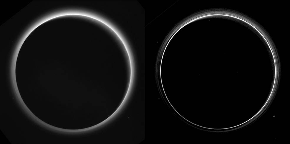 Two different versions of an image of Pluto's haze layers, taken by New Horizons as it looked back at Pluto's dark side nearly 16 hours after close approach, from a distance of 480,000 miles (770,000 kilometers), at a phase angle of 166 degrees. Pluto's north is at the top, and the sun illuminates Pluto from the upper right. These images are much higher quality than the digitally compressed images of Pluto's haze downlinked and released shortly after the July 14 encounter, and allow many new details to be seen. The left version has had only minor processing, while the right version has been specially processed to reveal a large number of discrete haze layers in the atmosphere. In the left version, faint surface details on the narrow sunlit crescent are seen through the haze in the upper right of Pluto's disk, and subtle parallel streaks in the haze may be crepuscular rays- shadows cast on the haze by topography such as mountain ranges on Pluto, similar to the rays sometimes seen in the sky after the sun sets behind mountains on Earth. Image Credit: NASA/Johns Hopkins University Applied Physics Laboratory/Southwest Research Institute