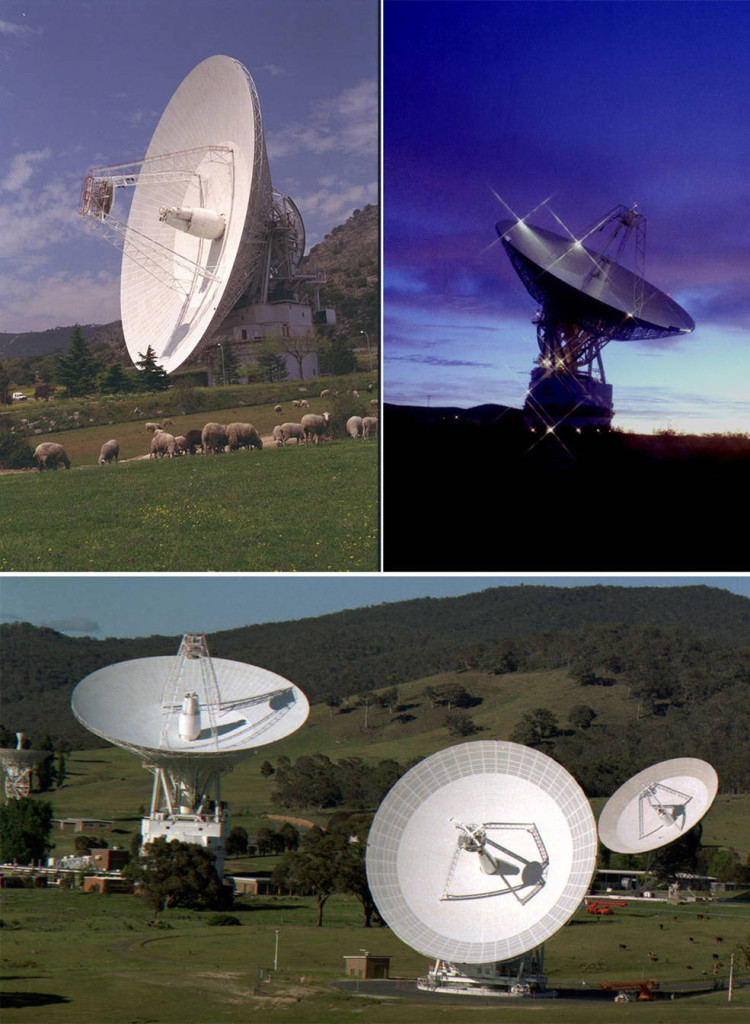 All communications with New Horizons – from sending commands to the spacecraft, to downlinking all of the science data from the historic Pluto encounter – happen through NASA's Deep Space Network of antenna stations in (clockwise, from top left) Madrid, Spain; Goldstone, California, U.S.; and Canberra, Australia. Even traveling at the speed of light, radio signals from New Horizons need about five hours to travel between the spacecraft and Earth. Image Credit: NASA