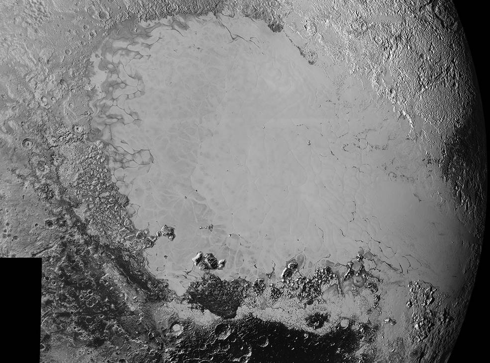 Mosaic of high-resolution images of Pluto, sent back from NASA's New Horizons spacecraft from Sept. 5 to 7, 2015. The image is dominated by the informally-named icy plain Sputnik Planum, the smooth, bright region across the center. This image also features a tremendous variety of other landscapes surrounding Sputnik. The smallest visible features are 0.5 miles (0.8 kilometers) in size, and the mosaic covers a region roughly 1,000 miles (1600 kilometers) wide. The image was taken as New Horizons flew past Pluto on July 14, 2015, from a distance of 50,000 miles (80,000 kilometers). Image Credit: NASA/Johns Hopkins University Applied Physics Laboratory/Southwest Research Institute
