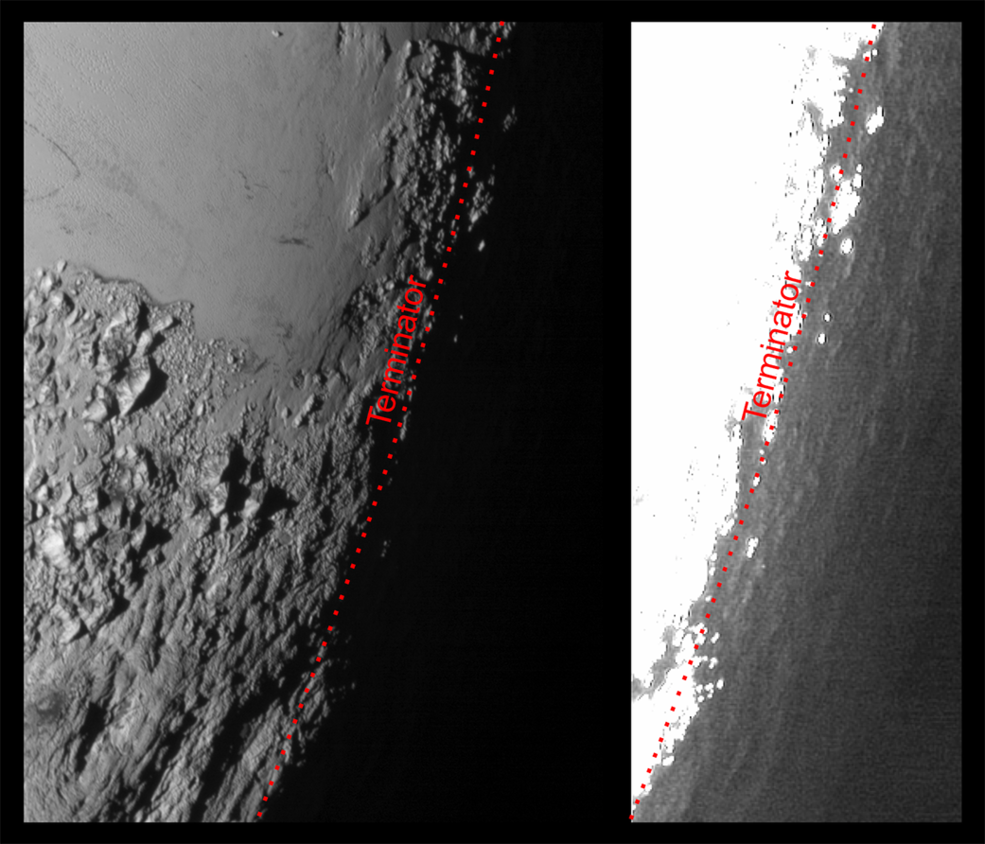 This image of Pluto from NASA's New Horizons spacecraft, processed in two different ways, shows how Pluto's bright, high-altitude atmospheric haze produces a twilight that softly illuminates the surface before sunrise and after sunset, allowing the sensitive cameras on New Horizons to see details in nighttime regions that would otherwise be invisible. The right-hand version of the image has been greatly brightened to bring out faint details of rugged haze-lit topography beyond Pluto's terminator, which is the line separating day and night. The image was taken as New Horizons flew past Pluto on July 14, 2015, from a distance of 50,000 miles (80,000 kilometers). Image Credit: NASA/Johns Hopkins University Applied Physics Laboratory/Southwest Research Institute
