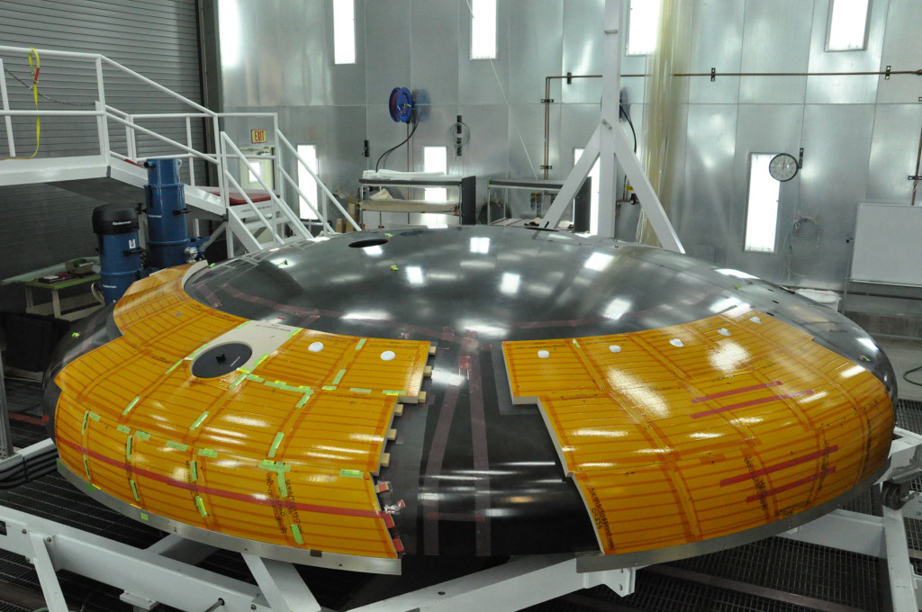 A manufacturing development unit of Orion's heat shield is being built at Lockheed Martin's facility in Denver. Engineers are using the unit to verify the new heat shield manufacturing process before it is used on actual flight hardware. Image Credit: Lockheed Martin