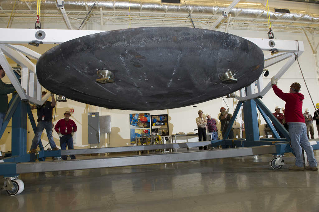 The Orion heat shield that flew on Exploration Flight Test 1, December 2014, arrives at Marshall Space Flight Center for machining and post-flight evaluation. Image Credit: NASA