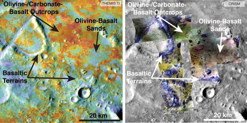 Researchers estimating the amount of carbon held in the ground at the largest known carbonate-containing deposit on Mars utilized data from five instruments on three different NASA Mars orbiters, including physical properties from THEMIS (left) and mineral information from CRISM (right). Image Credit: NASA/JPL-Caltech/ASU/JHUAPL