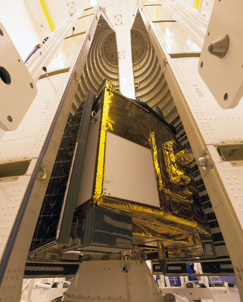 A close-up image of a Global Positioning System IIF-series satellite as it sits atop its payload adapter awaiting final encapsulation within a four-meter diameter protective fairing Oct. 16. Image Credit: United Launch Alliance