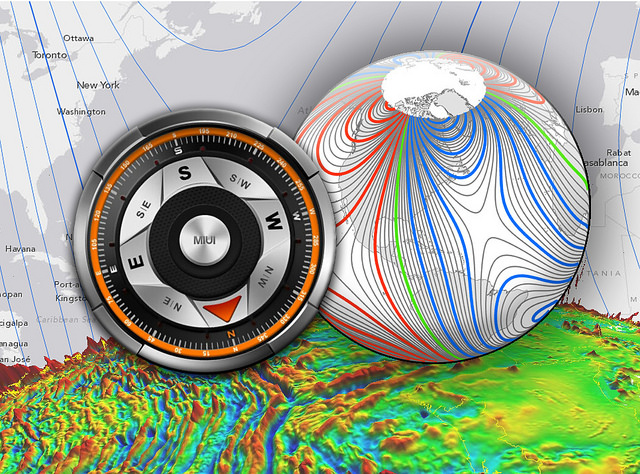 The World Magnetic Model (WMM) is a representation of Earth's magnetic field that gives analog and digital magnetic compasses dependable accuracy. Using years worth of satellite data, scientists can model Earth's changing magnetic field. A CIRES-NOAA research team was awarded the 2015 Governor's Award for High-Impact Research for advances in the field of geomagnetism, including an updated WMM and a citizen scientist project. Image Credit: CIRES