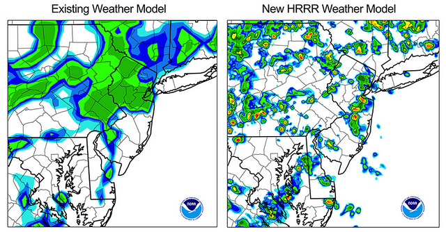The High Resolution Rapid Refresh (HRRR) weather model allows NOAA, for the first time, to use the latest radar and other observations to provide hourly updated storm-scale forecasts in rapidly changing conditions. A team comprised of NOAA and CIRES scientists was awarded the 2015 Governor's Award for High-Impact Research for the development of the HRRR. Image Credit: CIRES