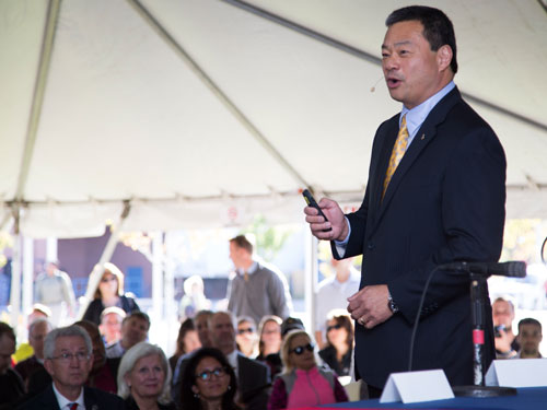 Former NASA Astronaut Leroy Chiao delivered the keynote address at this morning's groundbreaking of MSU Denver's AES facility. Image Credit: Sara Hertwig