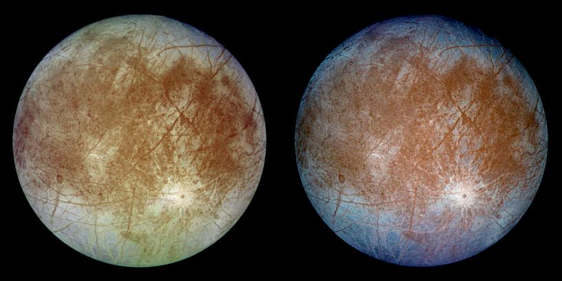 "This image shows two views of the trailing hemisphere of Jupiter's ice-covered satellite, Europa. The left image shows the approximate natural color appearance of Europa. The image on the right is a false-color composite version combining violet, green and infrared images to enhance color differences in the predominantly water-ice crust of Europa. Dark brown areas represent rocky material derived from the interior, implanted by impact, or from a combination of interior and exterior sources. Bright plains in the polar areas (top and bottom) are shown in tones of blue to distinguish possibly coarse-grained ice (dark blue) from fine-grained ice (light blue). Long, dark lines are fractures in the crust, some of which are more than 3,000 kilometers (1,850 miles) long. The bright feature containing a central dark spot in the lower third of the image is a young impact crater some 50 kilometers (31 miles) in diameter. This crater has been provisionally named ""Pwyll"" for the Celtic god of the underworld. Image Credit: NASA/JPL/DLR"