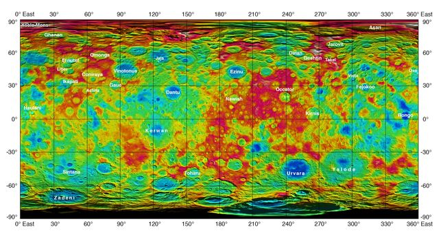 This color-coded map from NASA's Dawn mission shows the highs and lows of topography on the surface of dwarf planet Ceres. It is labeled with names of features approved by the International Astronomical Union. Image Credit: NASA/JPL-Caltech/UCLA/MPS/DLR/IDA