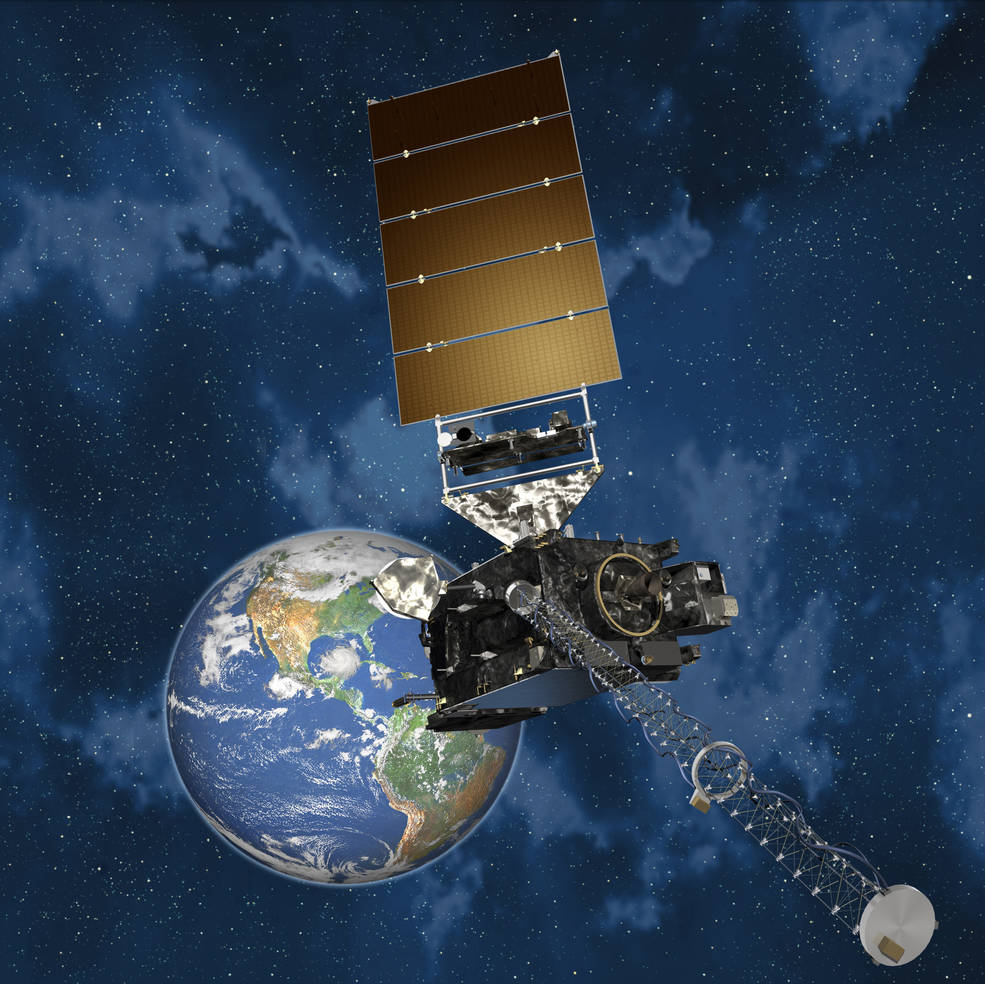 The first satellite in the next generation of geostationary satellites, GOES-R, is built by Lockheed Martin. Image Credit: NOAA