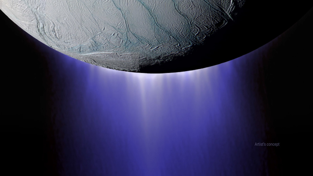 NASA's Cassini spacecraft completed its deepest-ever dive through the icy plume of Enceladus on Oct. 28, 2015. Image credit: NASA/JPL-Caltech