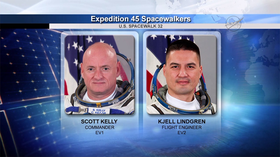 NASA astronauts Scott Kelly and Kjell Lindgren will conduct a second spacewalk on Nov. 6. Image Credit: NASA TV