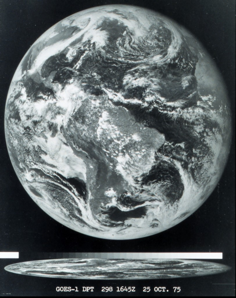 The first image obtained from the GOES-1 satellite on October 25, 1975. Image Credit: NOAA