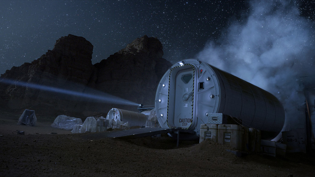 "An artificial living habitat (Hab) is necessary to facilitate human exploration of the planet Mars in ""The Martian."" Image Credit: Twentieth Century Fox"