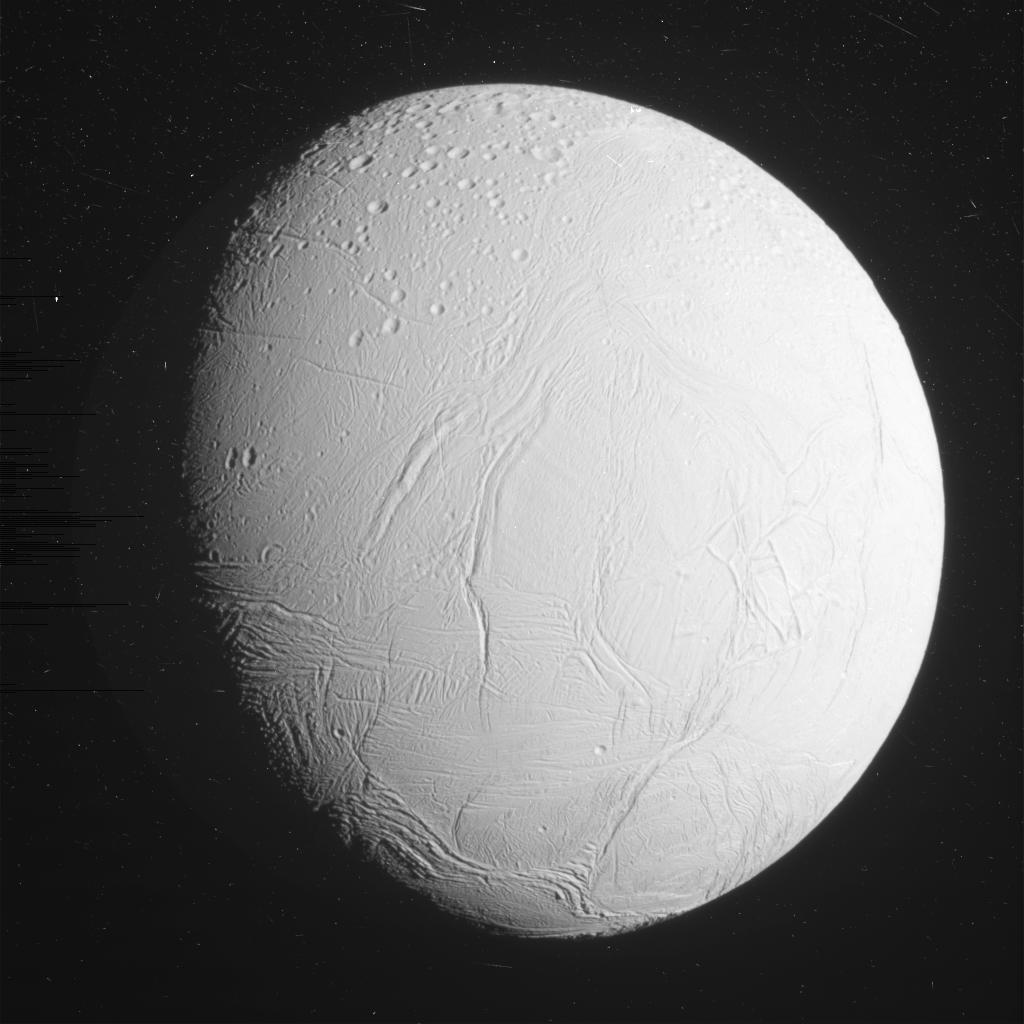 This unprocessed view of Saturn's moon Enceladus was acquired by NASA's Cassini spacecraft during a close flyby of the icy moon on Oct. 28, 2015. Image Credit: NASA/JPL-Caltech/Space Science Institute