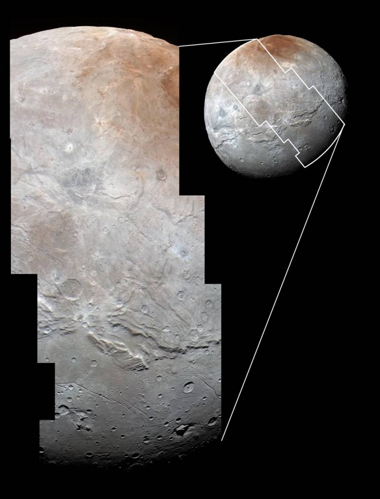 High-resolution images of Charon were taken by the Long Range Reconnaissance Imager on NASA's New Horizons spacecraft, shortly before closest approach on July 14, 2015, and overlaid with enhanced color from the Ralph/Multispectral Visual Imaging Camera (MVIC). Charon's cratered uplands at the top are broken by series of canyons, and replaced on the bottom by the rolling plains of the informally named Vulcan Planum. The scene covers Charon's width of 754 miles (1,214 kilometers) and resolves details as small as 0.5 miles (0.8 kilometers). Image Credit: NASA/JHUAPL/SwRI