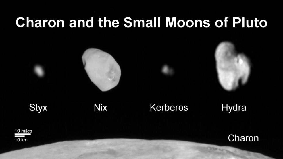 Family Portrait of Pluto's Moons: This composite image shows a sliver of Pluto's large moon, Charon, and all four of Pluto's small moons, as resolved by the Long Range Reconnaissance Imager (LORRI) on the New Horizons spacecraft. All the moons are displayed with a common intensity stretch and spatial scale (see scale bar). Charon is by far the largest of Pluto's moons, with a diameter of 751 miles (1,212 kilometers). Nix and Hydra have comparable sizes, approximately 25 miles (40 kilometers) across in their longest dimension above. Kerberos and Styx are much smaller and have comparable sizes, roughly 6-7 miles (10-12 kilometers) across in their longest dimension. All four small moons have highly elongated shapes, a characteristic thought to be typical of small bodies in the Kuiper Belt. Image Credit: NASA/JHUAPL/SwRI