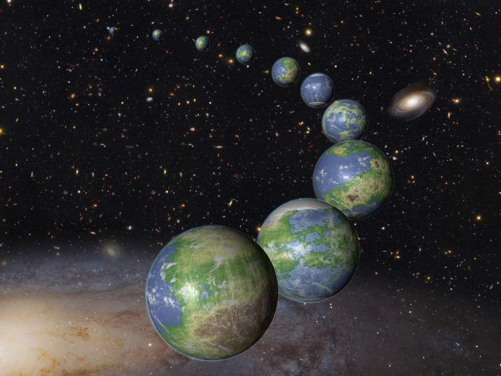 This is an artist's impression of innumerable Earth-like planets that have yet to be born over the next trillion years in the evolving universe. Image Credit: NASA, ESA, and G. Bacon (STScI)