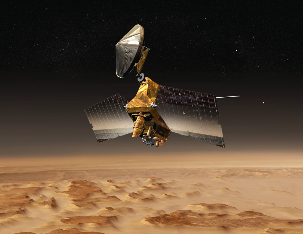 This artist's concept shows NASA's Mars Reconnaissance Orbiter mission over the red planet. Image Credit: NASA/JPL-Caltech