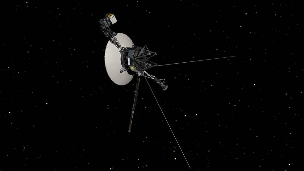 This artist's concept shows NASA's Voyager spacecraft against a backdrop of stars. Image Credit: NASA/JPL-Caltech