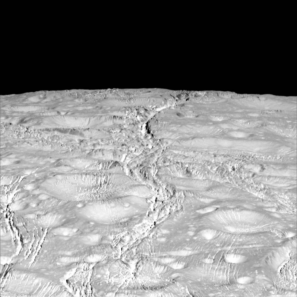 NASA's Cassini spacecraft zoomed by Saturn's icy moon Enceladus on Oct. 14, 2015, capturing this stunning image of the moon's north pole. Image Credit: NASA/JPL-Caltech/Space Science Institute