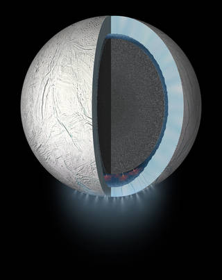 This artist's rendering showing a cutaway view into the interior of Saturn's moon Enceladus. NASA's Cassini spacecraft discovered the moon has a global ocean and likely hydrothermal activity. A plume of ice particles, water vapor and organic molecules sprays from fractures in the moon's south polar region. Image Credit: NASA/JPL-Caltech