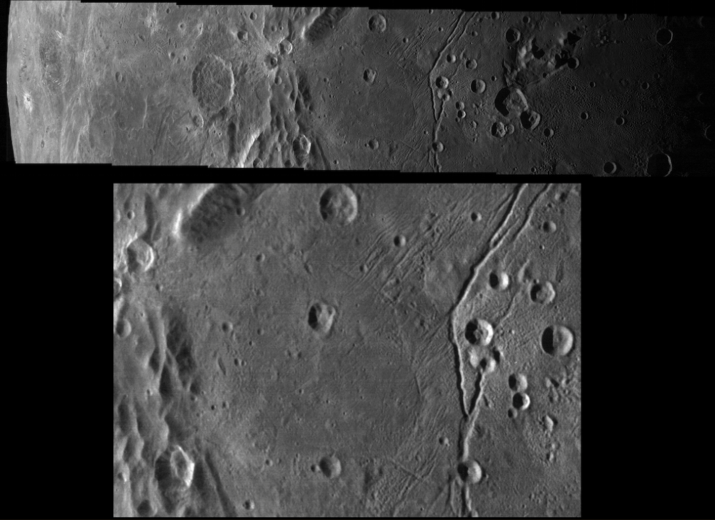 This mosaic of Pluto's largest moon Charon was taken by the Long Range Reconnaissance Imager (LORRI) on New Horizons shortly before closest approach on July 14, 2015; it resolves details as small as 340 yards (310 meters). The scene at bottom is about 125 miles (200 kilometers) across. Image Credit: NASA / JHUAPL / SwRI