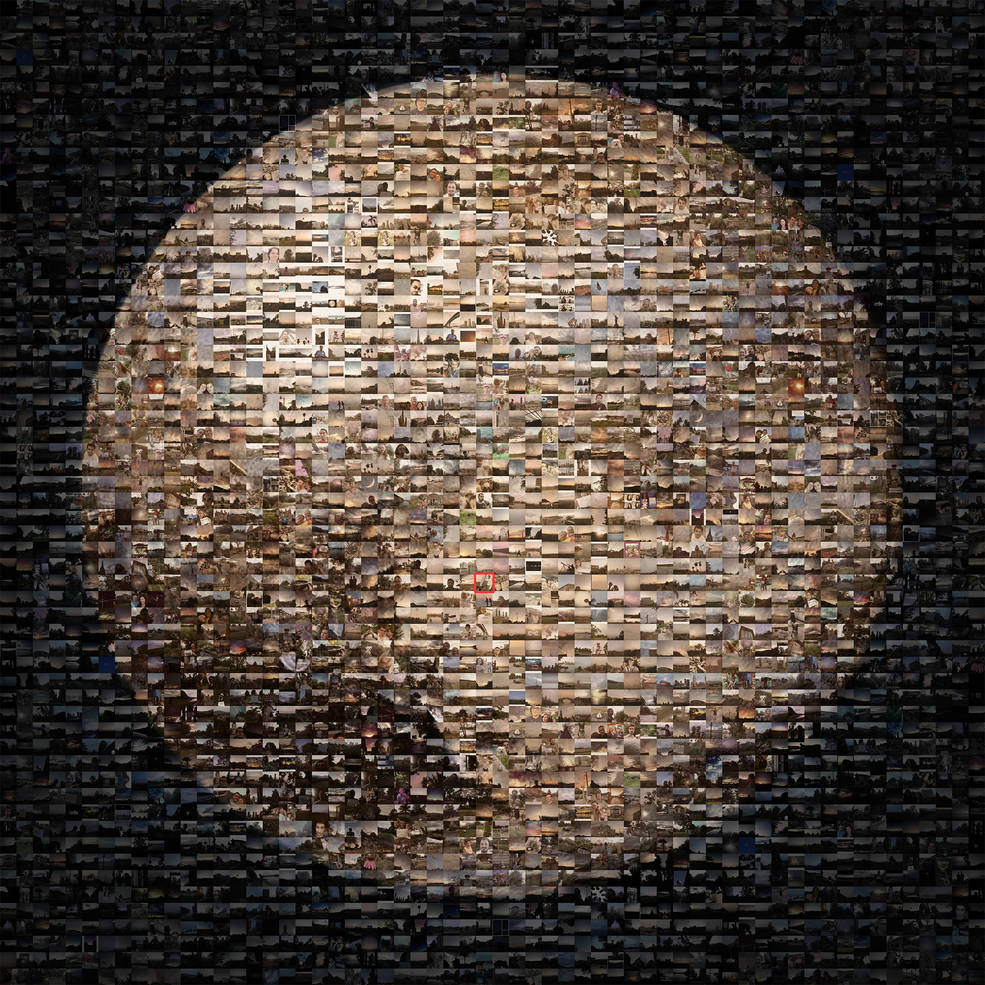 A photo of Pluto discoverer Clyde Tombaugh is embedded in this mosaic of hundreds of images shared during the #PlutoTime campaign. Image Credit: NASA/JPL