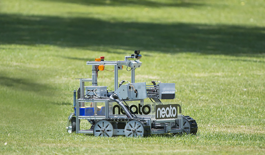 The Army of Angry Robots team robot is seen as it attempts the level one challenge at the 2015 Sample Return Robot Challenge. Image Credit: NASA/Joel Kowsky