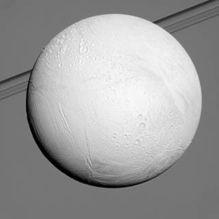 Earlier in Cassini's mission at Saturn, northern terrains on the ocean-bearing icy moon Enceladus were in the shadow of winter. Image Credit: NASA/JPL-Caltech