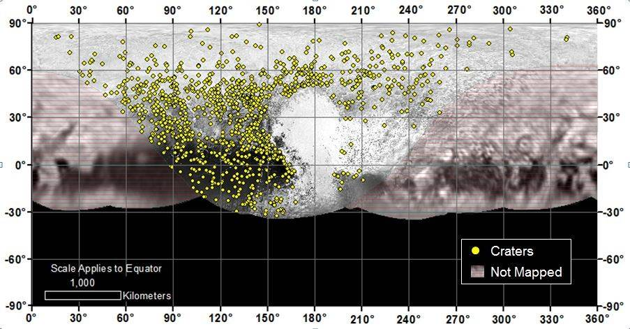 Locations of more than 1,000 craters mapped on Pluto by NASA's New Horizons mission indicate a wide range of surface ages, which likely means Pluto has been geologically active throughout its history. Image Credit: NASA/JHUAPL/SwRI