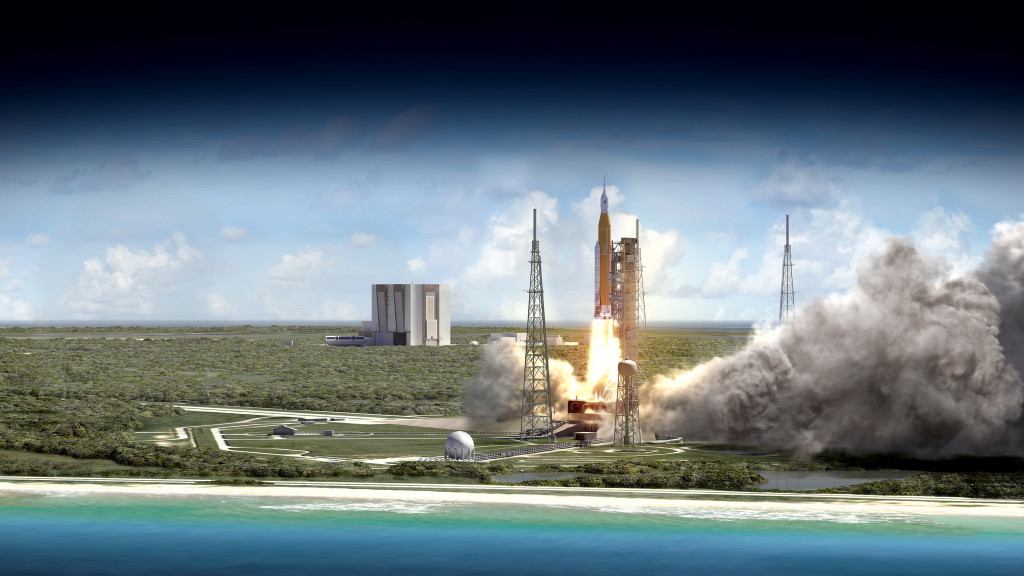 NASA¹s Space Launch System rocket will launch with Orion atop it from Launch Complex 39B at NASA¹s modernized spaceport at Kennedy Space Center in Florida. Image Credit: NASA