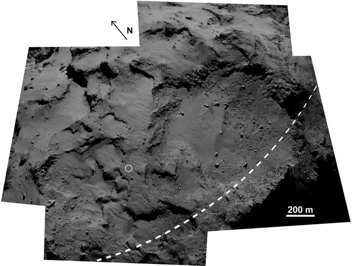 The area surrounding Philae's first touchdown point, Agilkia (circled) on comet 67P/Churyumov–Gerasimenko. The large depression is the Hatmehit region. The dashed line marks the comet's equator. This image is a composite of five frames from the OSIRIS narrow-angle camera. Image Credit: ESA/Rosetta/MPS for OSIRIS Team