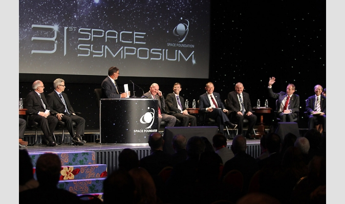 World space leaders on a panel at the 31st Space Symposium in 2015. Image Credit: Space Foundation