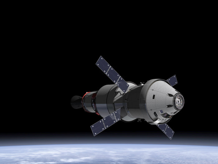 An artist's impression of the Orion spacecraft with ESA's service module. Image Credit: NASA