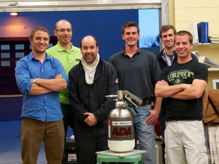 Mines and ADA Technologies team after final test of water-mist portable fire extinguisher. From left: Tyler Grubb, Thierry Carriere, Angel Abbud-Madrid, Michael Tomlinson, Michael Krysiak, and John Maloney. Image Credit: Colorado School of Mines