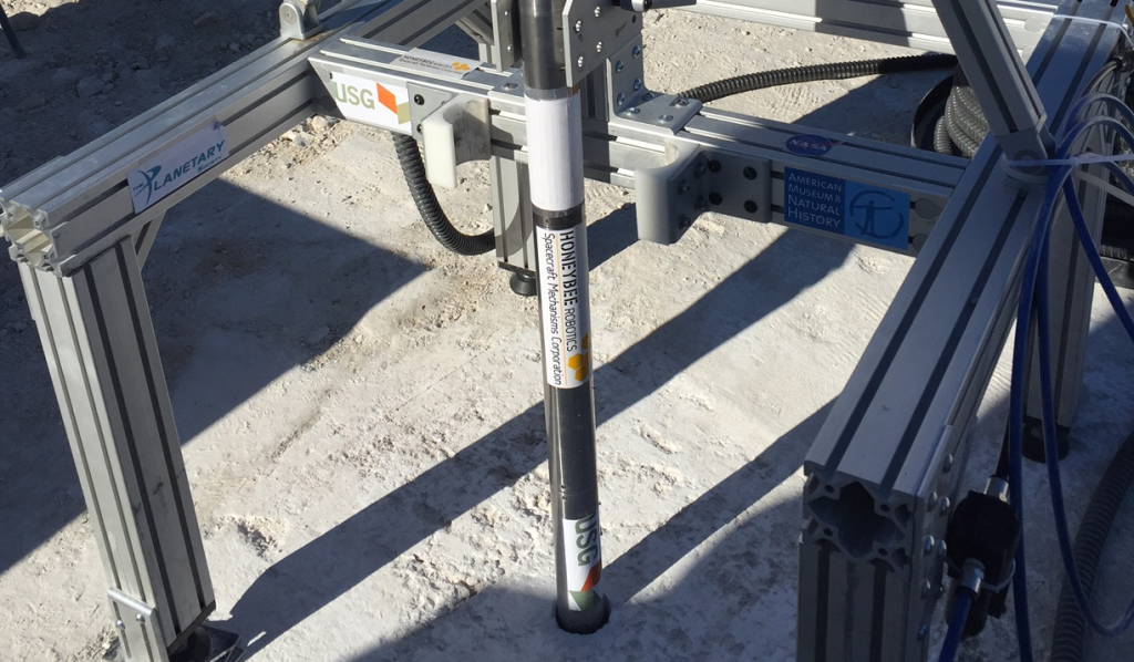 Drill will be tested to reach 100 feet in Mars analog environment at USG Corporation's gypsum quarry in California. Image Credit: Honeybee Robotics