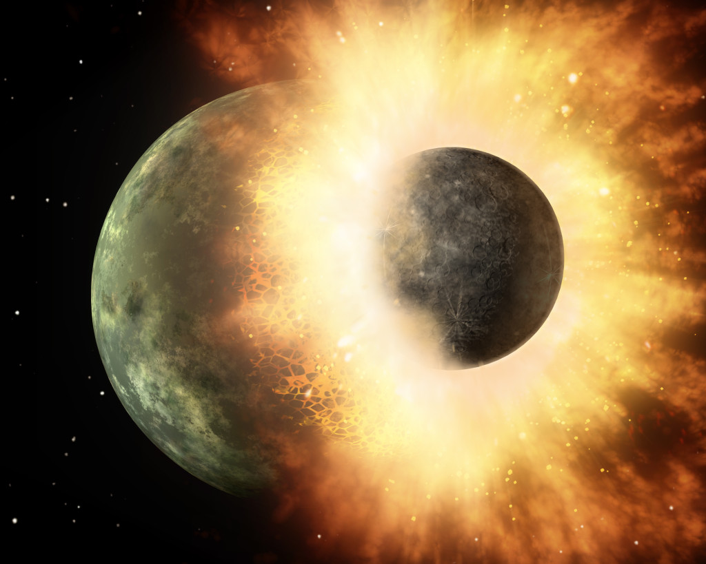 This artist's concept shows a giant impact similar to the one 4.5 billion years ago that scientists think created the Earth-Moon system. Southwest Research Institute scientists combined dynamical, thermal, and chemical models of the Moon's formation to explain the relative lack of volatile elements in lunar rocks, when compared to those of Earth. Image Credit: NASA/JPL-Caltech