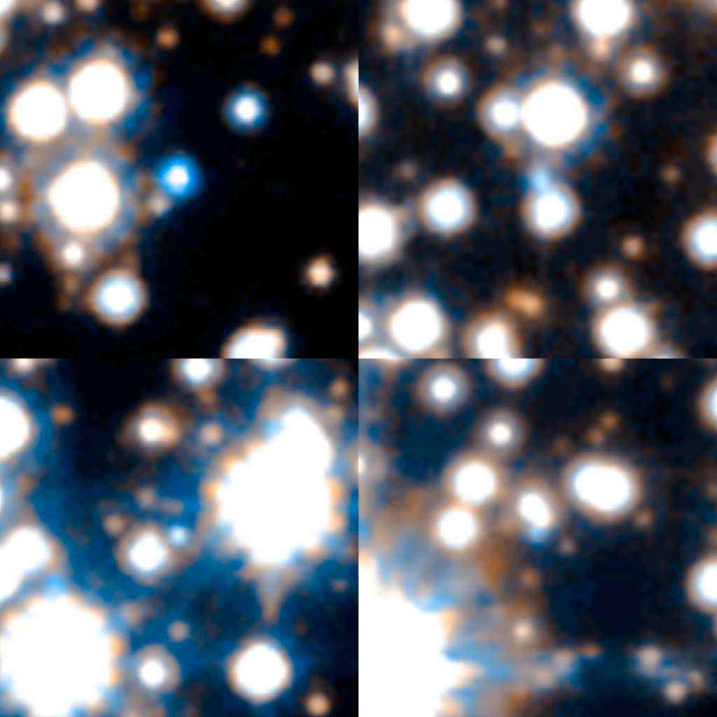 Hubble uncovered extremely faint and hot white dwarfs. This is a sample of 4 out of the 70 brightest white dwarfs spied by Hubble in the Milky Way's bulge. Astronomers picked them out based on their faintness, blue-white color, and motion relative to our sun. Image Credit: NASA/ESA/STScI/SWEEPS Science Team
