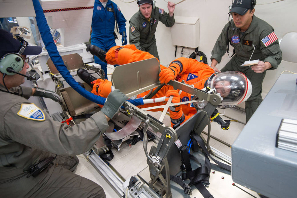 Reduced Gravity Office's Orion Crew Survival Systems Mockup Ingress Research flights. Flight 3. Image Credit: NASA/Lauren Harnett