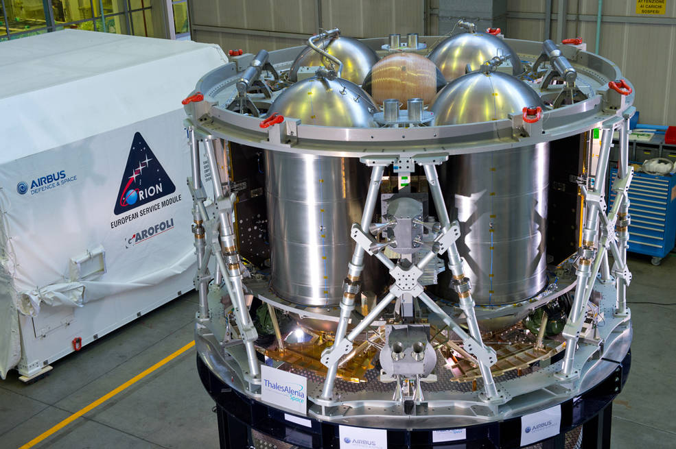 The structural test article of the European service module for Orion is being assembled at Airbus Defence and Space. Airbus is building the module, which will supply the spacecraft's power, in-space propulsion and air and water for the crew, on behalf of ESA (European Space Agency) for Orion. The STA is being transported to Glenn Research Center's Plum Brook station for testing. Image Credit: NASA