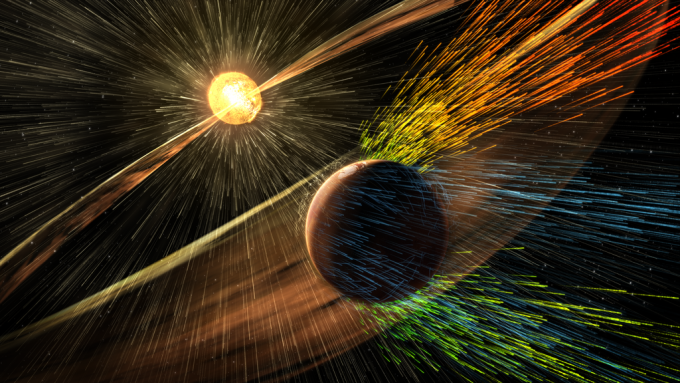 A team led by CU-Boulder has found that the solar wind stripped away the atmosphere of Mars over the eons, causing it to change from a warm, wet and possibly habitable planet to the cold, dry and barren planet it is today. Artist rendering. Image Credit: NASA