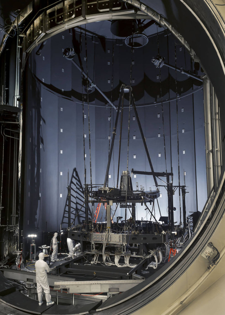 "Engineers inspect the James Webb Space Telescope's ""pathfinder telescope,"" after its second super-cold optical test in Chamber A at NASA's Johnson Space Center. Image Credit: NASA/Chris Gunn"